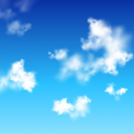 clear blue sky with white clouds Vector