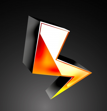 Vector 3d color lightning icon Vector