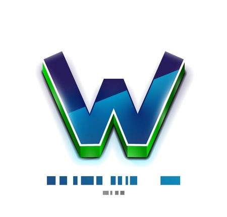 www at sign: 3d vector W letter  Tecnology business symbol