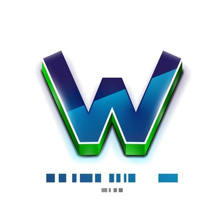 stílus: 3d vektor W írni Tecnology üzleti szimbólum