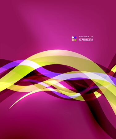 Transparent colorful wave lines with light effects Vector
