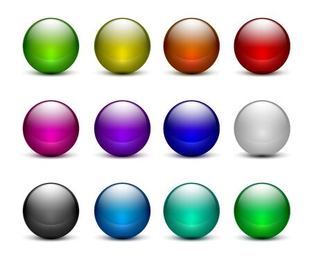 Colorful glass sphere buttons set Stock Vector - 19338221