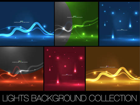 Set of shiny space energy design templates Vector