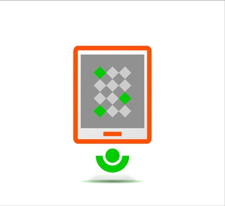 multi touch: Simple stylized colorful icon - tablet Illustration