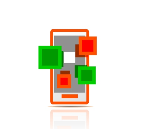 Simple stylized colorful icon - mobile apps Stock Photo - 19338245
