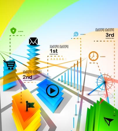 internet cafe: City modern infographics banner design template Illustration