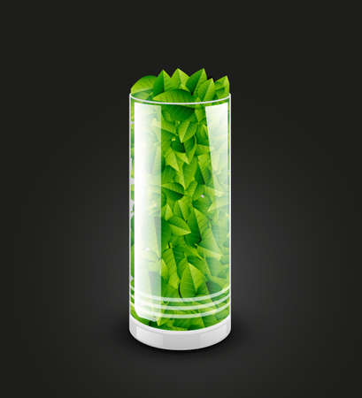 Empty transparent glass cylinder with leaves photo