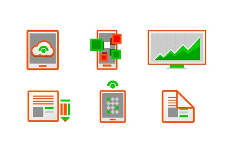 Web orange minimal light icon set Stock Vector - 19561566