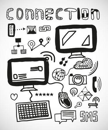 Set of hand drawn connection doodles Stock Vector - 19726992