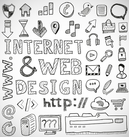log out: Internet and web design hand drawn doodles