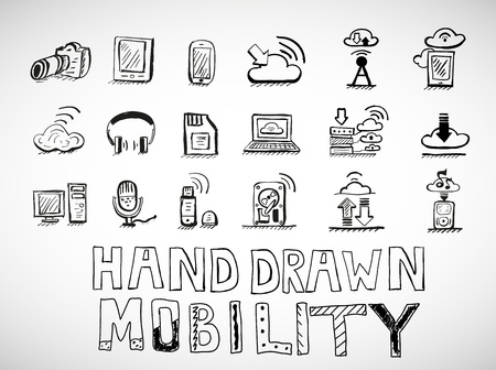 Hand drawn mobility icons doodles Stock Vector - 19727000