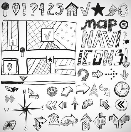 sketched icons: Mano dibuja garabatos de navegaci�n