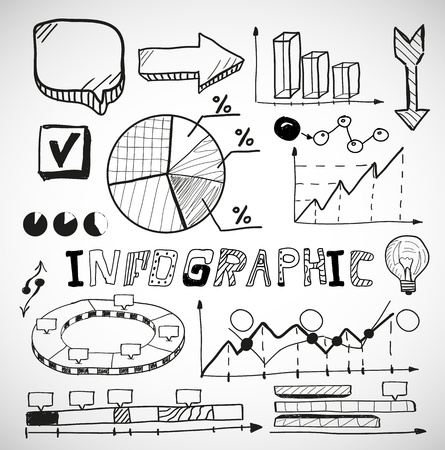 line chart: Infographic business graphs doodles