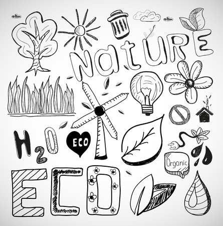 Ecology nature vector doodles Vector