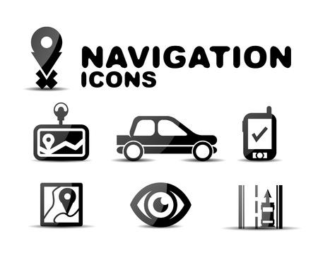 satellite navigation: Navegaci�n icono brillante conjunto negro