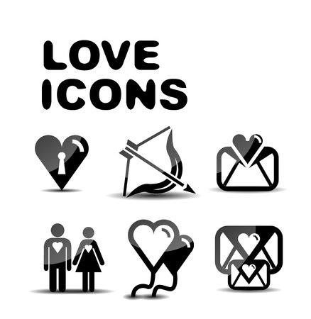Love glossy icon set  Vector illustration Vector