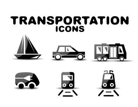 Negro brillante transporte conjunto de iconos