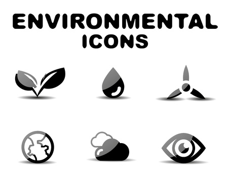 Black glossy environmental icon set Stock Vector - 19903150