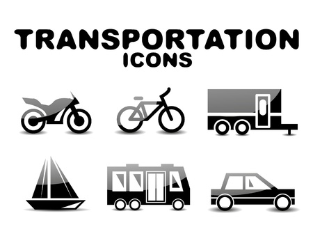 recreational vehicle: Black glossy transportation icon set