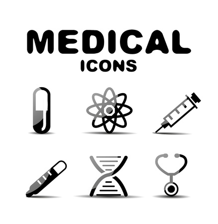 ampule: Black glossy medical icon set