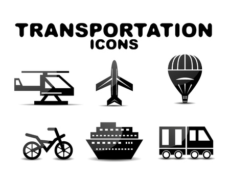Black glossy transportation icon set photo