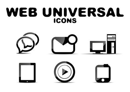 Black glossy web universal icon set Stock Vector - 19890223