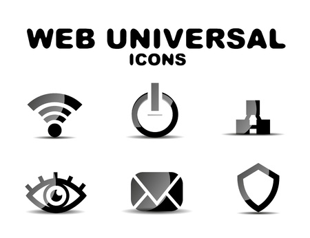 Black glossy web universal icon set Stock Vector - 19903162