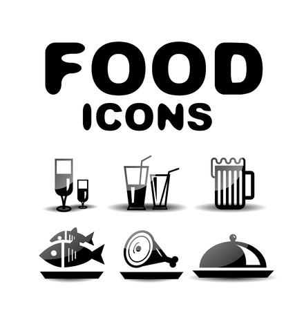 Food black glossy icon set Stock Vector - 19903188