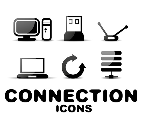 Cloud connection glossy black icon set Vector