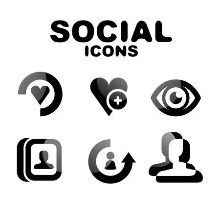 Black glossy social icon set Stock Vector - 19903182