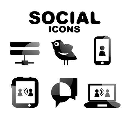 Black glossy social icon set Stock Vector - 19903183