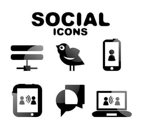 Black glossy social icon set Stock Vector - 19903183