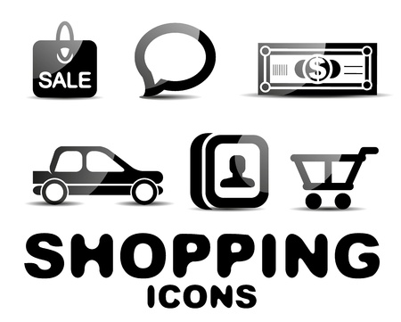 custumer: Black glossy shopping icon set