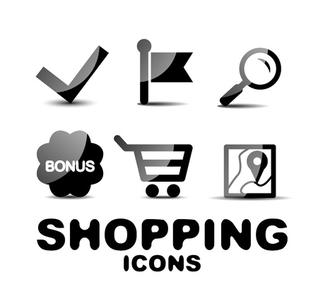 Black glossy shopping icon set Vector