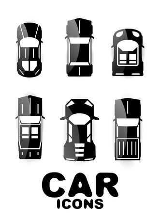 taxi cab: Black glossy car icon set Illustration