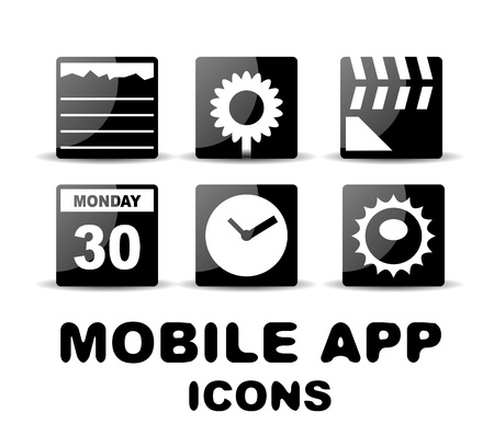 Black glossy square mobile app icons Vector
