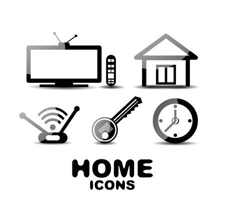 Black glossy home icons Stock Vector - 20083734