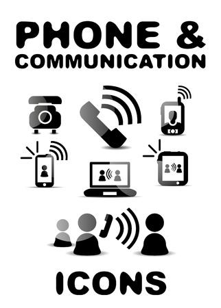 Black glossy phone   communication icon set Stock Vector - 20083739
