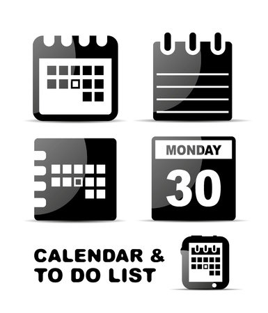 Black glossy calendar icon set Stock Vector - 20083738