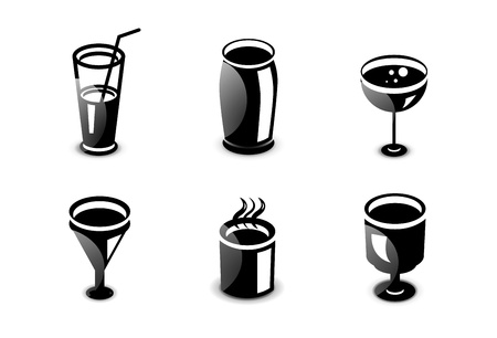 Glossy drinks and beverages icon set Stock Vector - 20083778