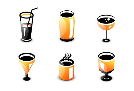 Glossy drinks and beverages icon set Stock Vector - 20083781