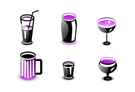 Glossy drinks and beverages icon set Stock Vector - 20083779