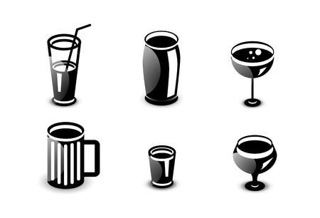 capacity: Glossy drinks and beverages icon set
