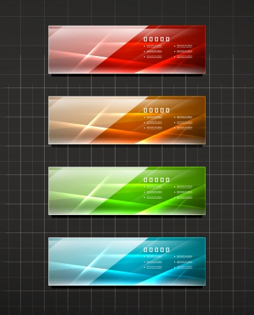 Glossy shiny banners on black Vector