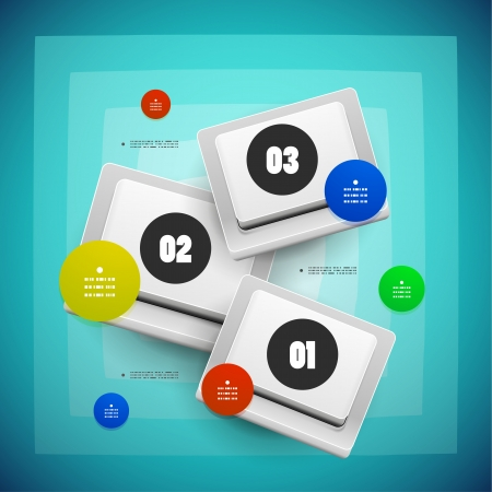 Keys buttons option steps vector template Vector