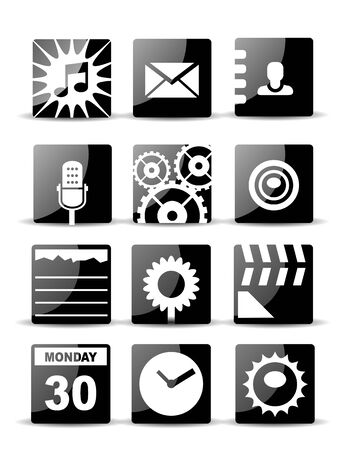 Modern black flat mobile app icon set Stock Vector - 20728133