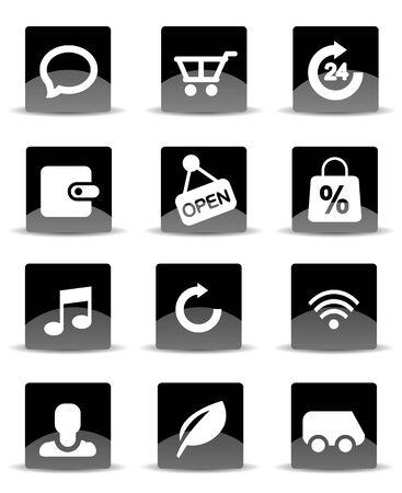 Modern black flat mobile app icon set Vector