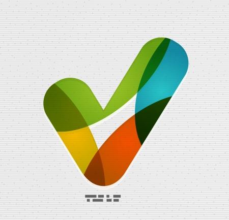 Positief vinkje / tik op papier ontwerp Vector Illustratie