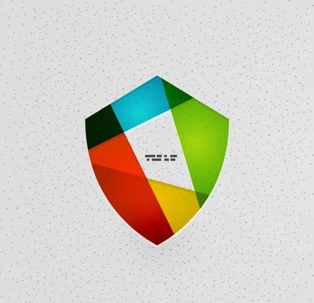 3d shield: Colorful protection shield vector paper design concept