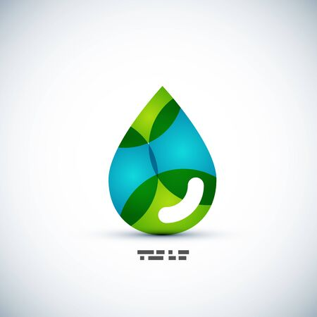 Green eco water drop vector concept Vector